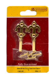 50 mm Polished Brass Fleur De Lys Tassel Hook Packet of 2