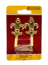75 mm Polished Brass Fleur De Lys Tassel Hook Packet of 2