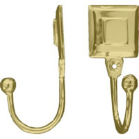 Polished Brass Double Square Tassel Hooks