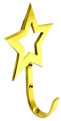 70 mm x 110 mm Polished Brass Star Tassel Hook