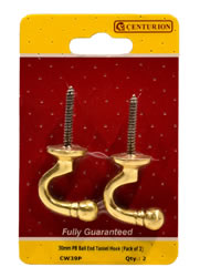30 mm Polished Brass Ball End Tassel Hook Packet of 2