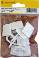 White Plastic With Centre Support Curtain Wire End Hooks Packet of 10