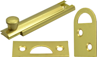 63 mm 2 1 / 2 inch Polished Brass Flat Cupboard Bolt