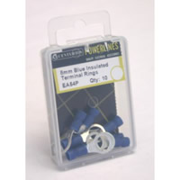 8 mm Blue Insulated Terminal Rings Packet of 10