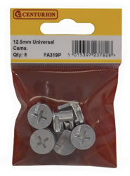 12.5 mm Zinc Plated Universal Cam Fixings Packet of 6