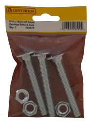 M10 X 75 mm Zinc Plated Small Carriage Bolts and Nuts Packet of 3