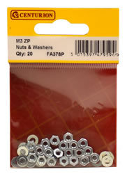 M3 Zinc Plated Nuts and Washers Packet of 20