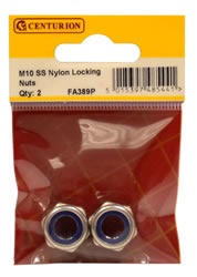 M10 Stainless Steel Nylon Locking Nuts Packet of 2