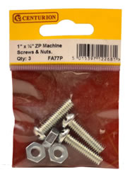 1 inch x 1 / 4 inch Zinc Plated Machine Screws and Nuts Packet of 3