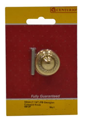32 mm 1 1 / 4 inch Polished Brass Georgian Cupboard Knob