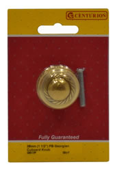 38 mm 1 1 / 2 inch Polished Brass Georgian Cupboard Knob