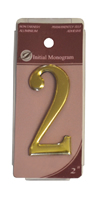 2 inch Gold Effect Numeral 2