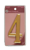 3 inch Gold Effect Numeral 4