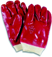 Red 1mm plastic PVC Knit Wrist Gloves large