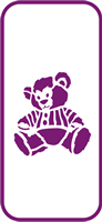 135 mm x 60 mm Mini Stencil Teddy Bear