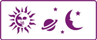 350 mm x 140 mm Border Stencil Sun Moon and Stars