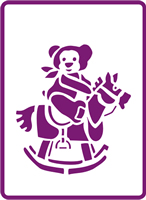 180 mm x 250 mm Standard Stencil Rocking Teddy