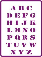 180 mm x 250 mm Standard Stencil Full Alphabet