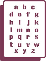 180 mm x 250 mm Standard Stencil Full Lowercase Alphabet