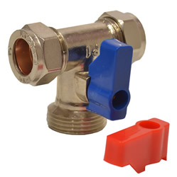 Tee 15 mm x 3 / 4 inch BSP Appliance Stop Valve