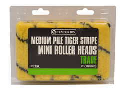 100 mm 4 inch Medium Pile Tiger Striped Mini Roller Heads **Please note quantity is Indiv Roller Heads
