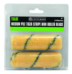 100 mm 4 inch Medium Pile Tiger Striped Mini Roller Heads Packet of 2