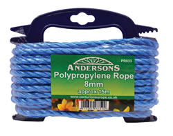 8 mm x 15 metres Multi Blue Poly Rope