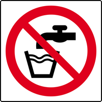 Not drinking water symbol labels 50 x 50mm Roll of 250