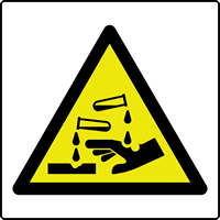 Corrosive symbol labels 50 x 50mm Roll of 500