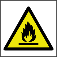 Flammable symbol labels 50 x 50mm Roll of 250