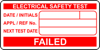 FAILED Electrical safety test labels 50 x 25mm Roll of 500