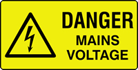danger mains Voltage labels 50 x 25mm Roll of 500