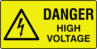 danger high voltage labels 50 x 25mm Roll of 250