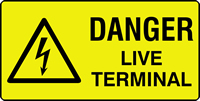 danger live terminal labels 50 x 25mm Roll of 500