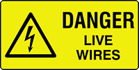 danger live wires labels 50 x 25mm Roll of 1000