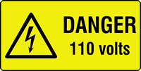 danger 110 volts labels 50 x 25mm Roll of 250