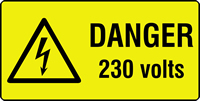 danger 230 volts labels 50 x 25mm Roll of 500