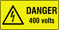 danger 400 volts labels 50 x 25mm Roll of 500