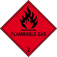 Flammable Gas 2 labels 100 x 100mm Roll of 250