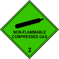 Non flammable Compressed Gas 2 labels 100 x 100mm Roll of 250