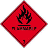 Flammable 3 labels 100 x 100mm Roll of 250