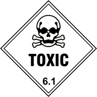 Toxic 6.1 labels 100 x 100mm Roll of 250