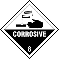Corrosive 8 labels 100 x 100mm Roll of 250
