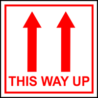 This way up arrows labels 100 x 100mm Roll of 250