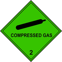 Compressed Gas 2 labels 250 x 250mm Pack of 10