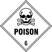 Poison 6 labels 250 x 250mm Pack of 10