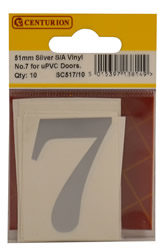 51 mm Silver Traditional Oldstyle Font Vinyl Number 7