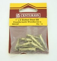 1 inch x 8 Electro Brass Slotted Steel Woodscrews with Countersunk Head Packet of 14