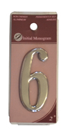 2 inch Silver Effect Numeral 6