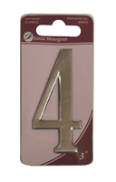 3 inch Silver Effect Numeral 4